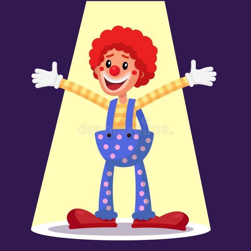 Payaso feliz Vector Ejecutante de la acción del circo Estilo de la vendimia Ejemplo plano aislado del personaje de dibujos animad ilustración del vector