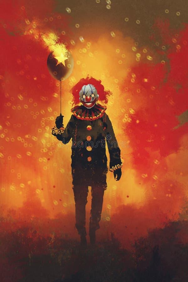 Payaso malvado que se coloca con un globo en fondo del fuego ilustración del vector