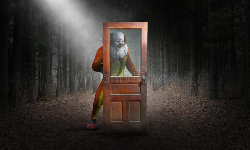 Payaso malvado surrealista, bosque, Halloween libre illustration