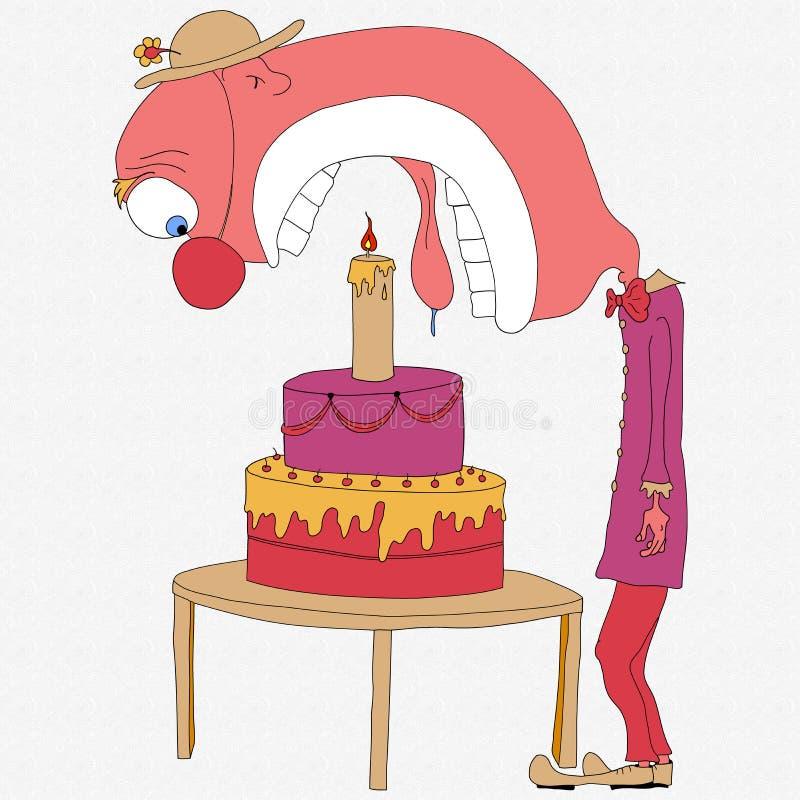 Payaso que come la torta imagen de archivo