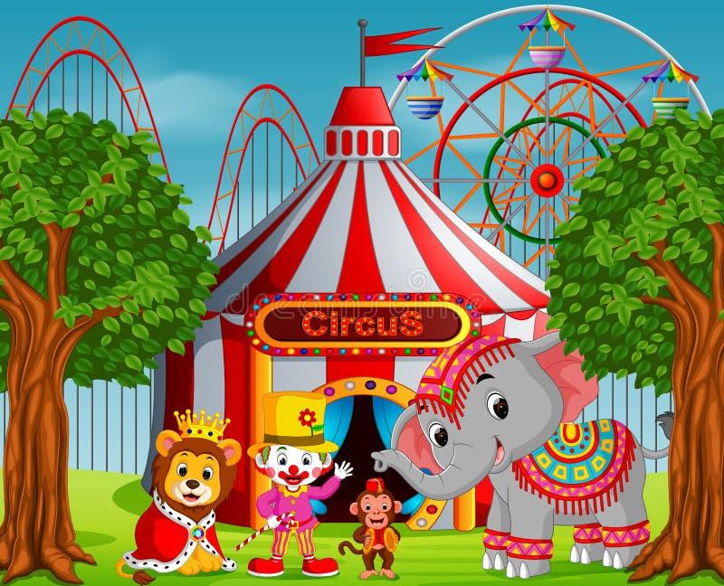 Payaso y mucho animal con la tienda de circo en el parque de atracciones stock de ilustración