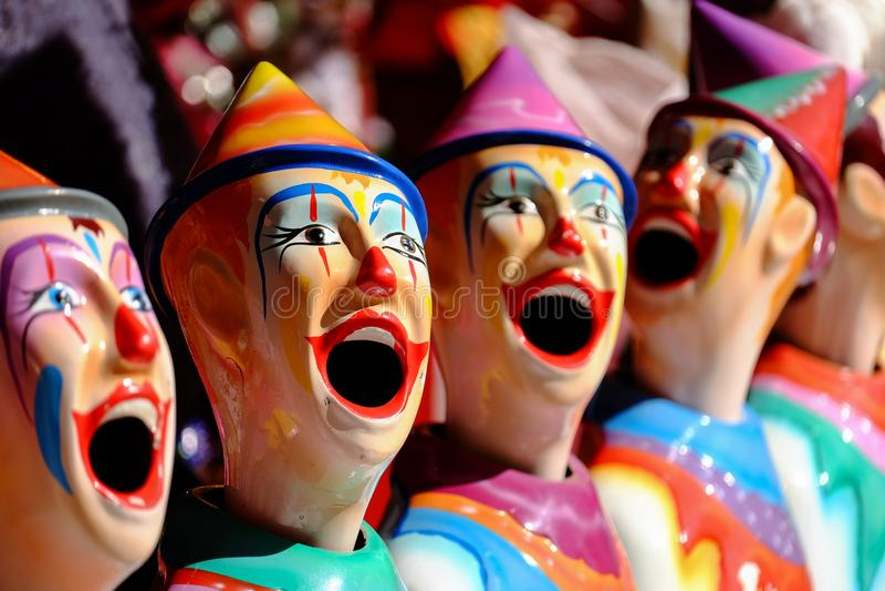 Payasos del carnaval en la exposición o la demostración real de Queensland, Brisbane, Australia de Ekka Brisbane fotografía de archivo