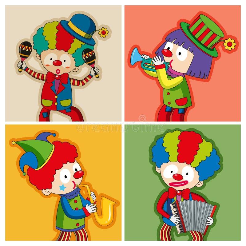 Payasos felices que tocan diversos instrumentos stock de ilustración