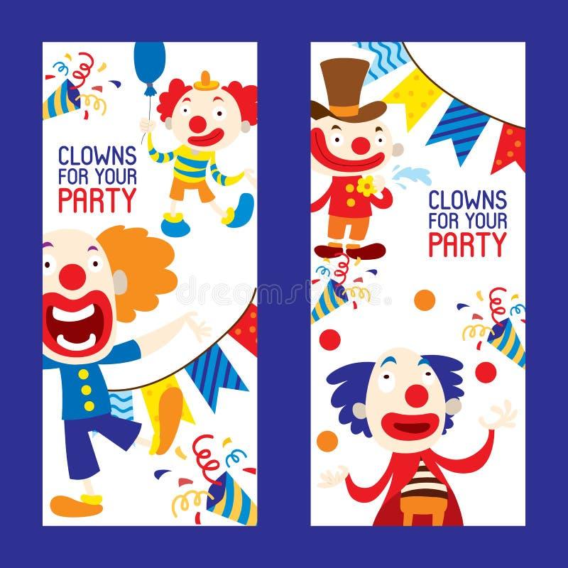 Payasos para su sistema del partido del ejemplo del vector de las banderas Caracteres divertidos y diversos accesorios del circo  ilustración del vector