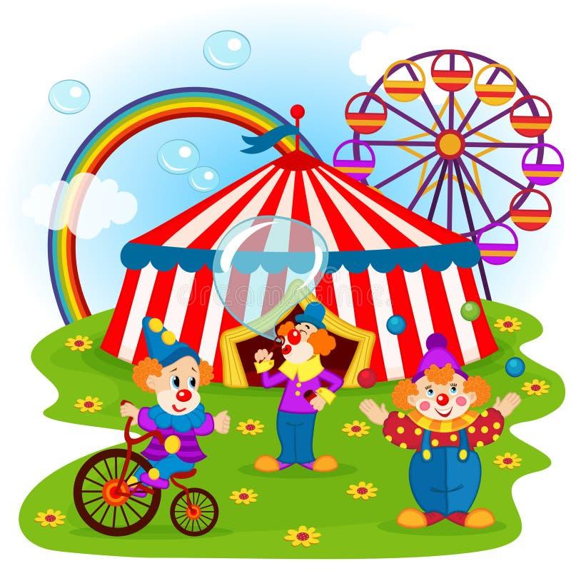 Payasos y circo divertidos ilustración del vector