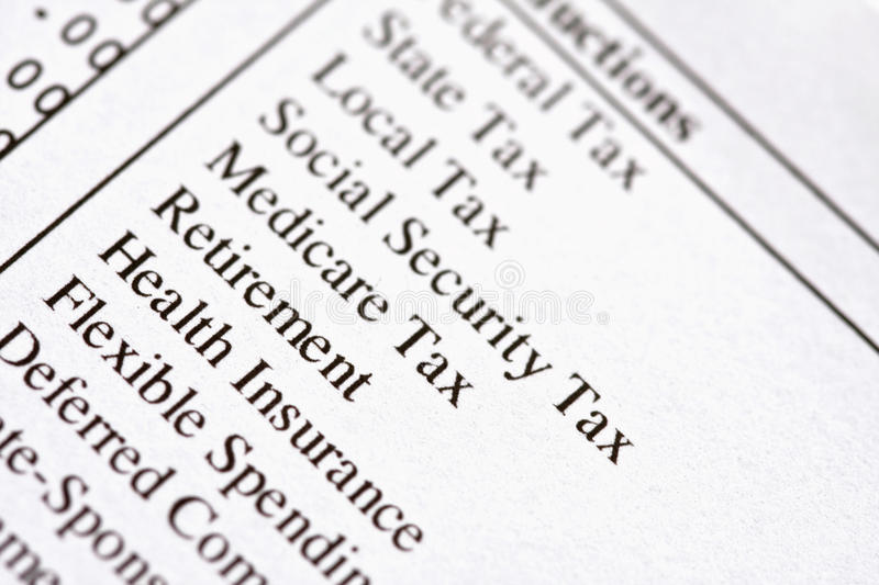 Paycheck Deductions stock image