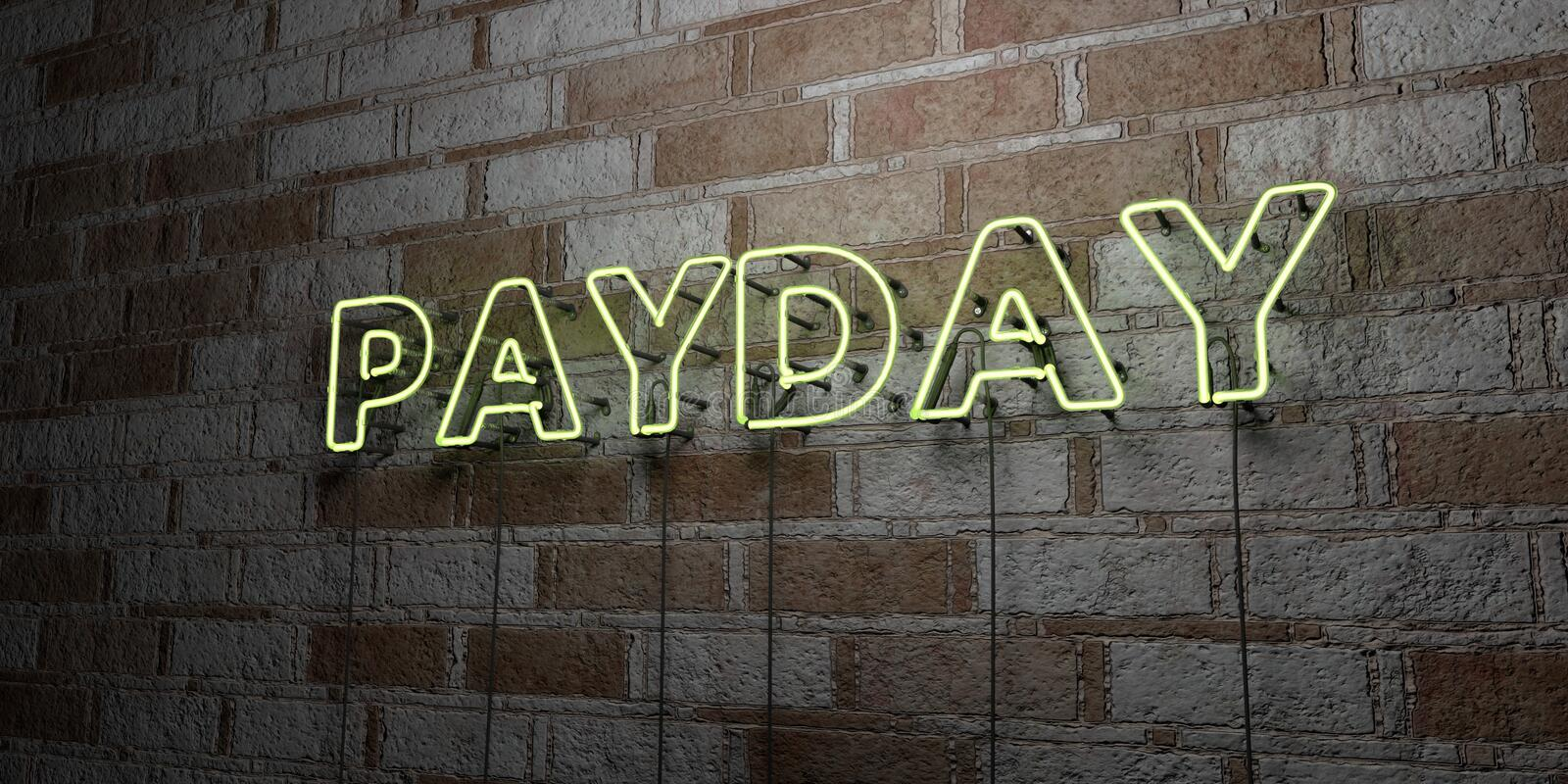 PAYDAY - Glowing Neon Sign on stonework wall - 3D rendered royalty free stock illustration. Can be used for online banner ads and direct mailers stock illustration