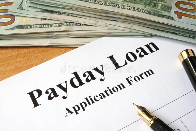 Payday loan form. stock image