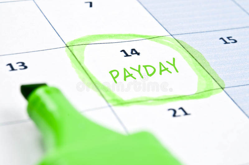 Payday mark. Calendar mark with Payday note royalty free stock image