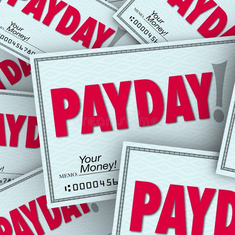 Payday Word ελέγχει κερδισμένη εργασία εργασίας χρημάτων την εισόδημα απεικόνιση αποθεμάτων