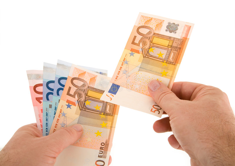 Payer le comptant avec l'euro devise photos libres de droits