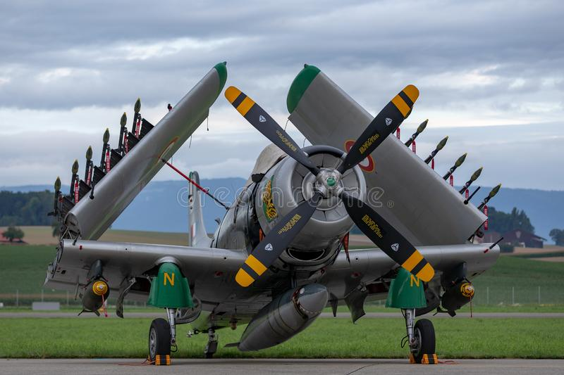 Former French Air Force Douglas A-1D Skyraider single seat attack aircraft F-AZHK. Payerne, Switzerland - August 31, 2014: Former French Air Force Douglas A-1D stock photography