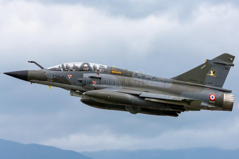 French Air Force Armee De L'Air Dassault Mirage 2000N multirole fighter aircraft. Payerne, Switzerland - August 31, 2014: French Air Force Armee De L royalty free stock photos