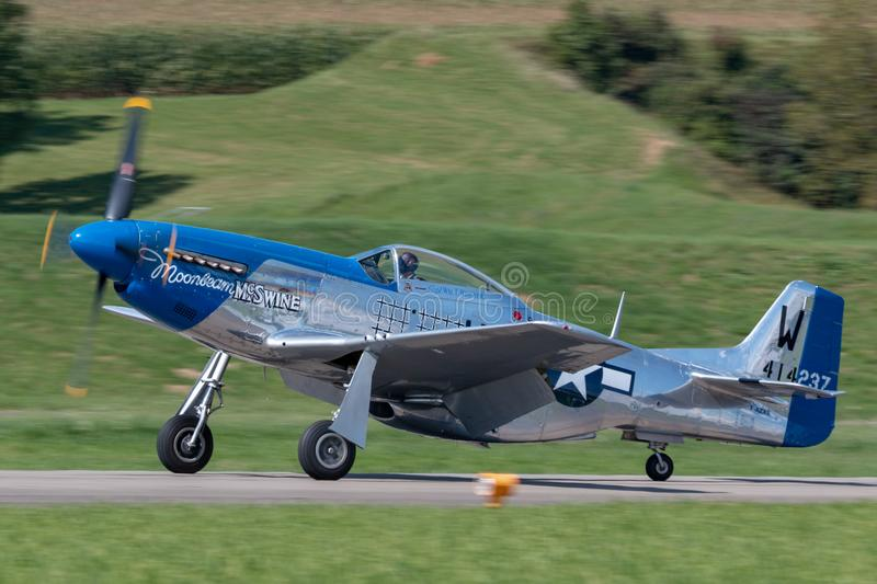 1944 North American P-51D Mustang fighter aircraft Moonbeam McSwine F-AZXS. Payerne, Switzerland - August 30, 2014: 1944 North American P-51D Mustang fighter stock images