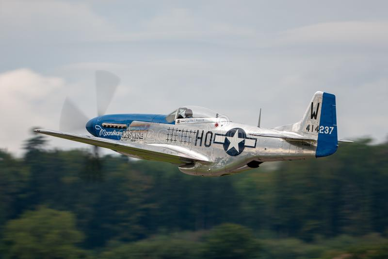 1944 North American P-51D Mustang fighter aircraft Moonbeam McSwine F-AZXS. Payerne, Switzerland - August 29, 2014: 1944 North American P-51D Mustang fighter stock image