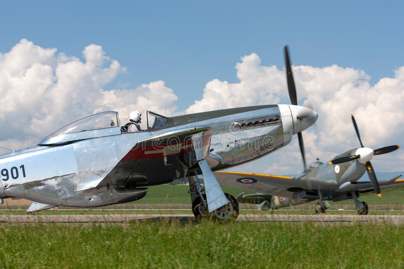 1944 North American P-51D Mustang fighter aircraft Moonbeam McSwine F-AZXS. Payerne, Switzerland - September 6, 2014: 1944 North American P-51D Mustang fighter stock image