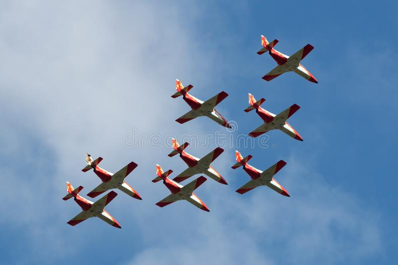 Spanish Air Force Ejercito del Aire CASA C-101EB Aviojet jet trainer aircraft of the Patrulla Aguila formation aerobatic display royalty free stock photography