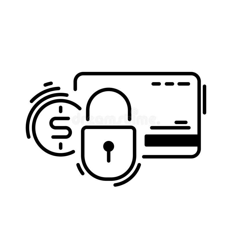 Payez, carte de crédit, protection, sûre Les méthodes de paiement amincissent la ligne icône illustration stock