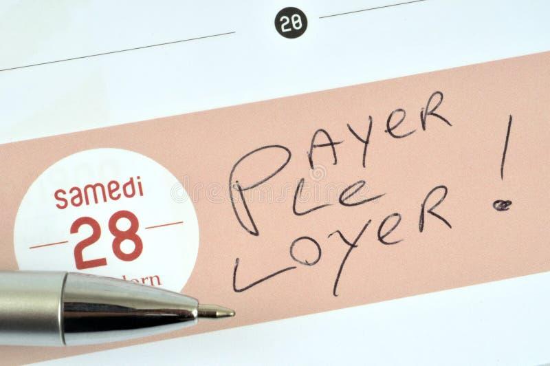 Payez le loyer écrit en français illustration libre de droits