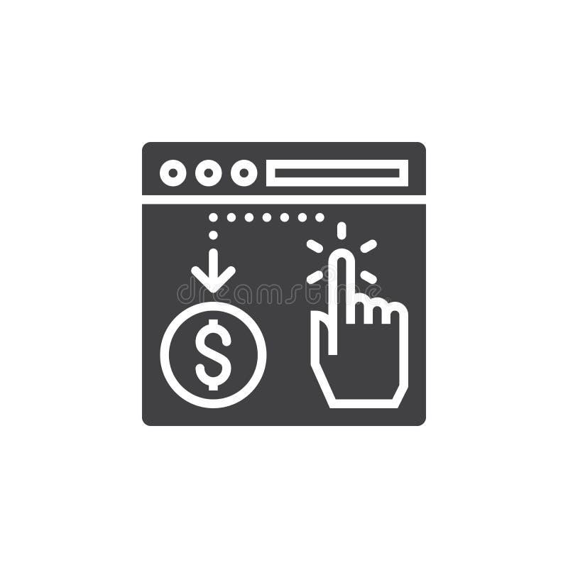 Payez par vecteur d'icône de clic, signe plat rempli, pictogramme solide illustration stock