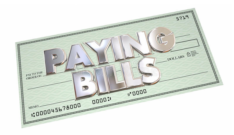 Paying Bills Check Money Send Payment Words. 3d Illustration stock illustration
