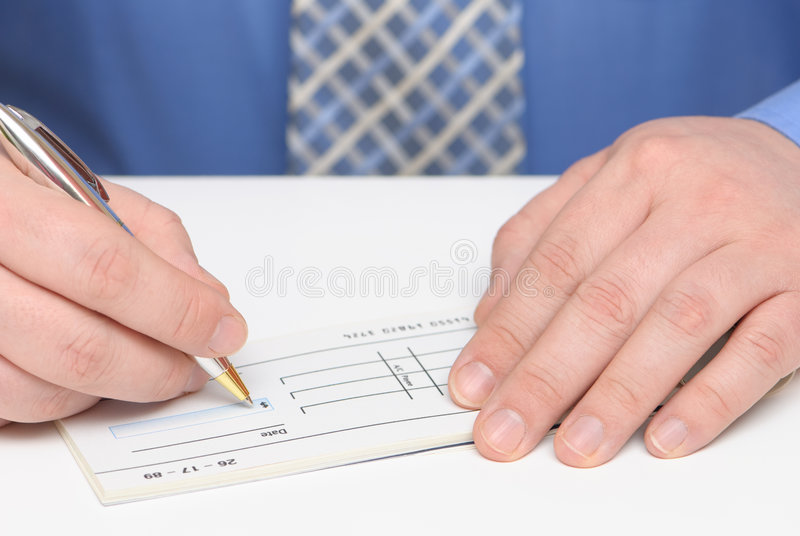 Paying Bills With Cheque Royalty Free Stock Photos