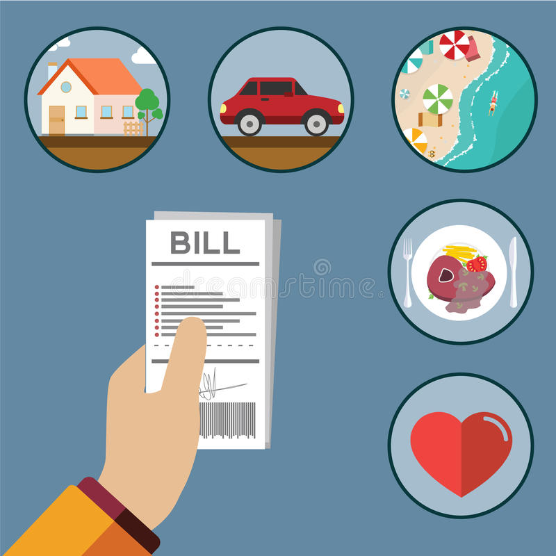 Paying bills, hand holding bills royalty free illustration