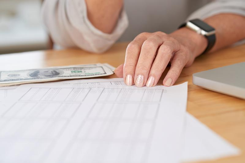 Paying bills royalty free stock photo