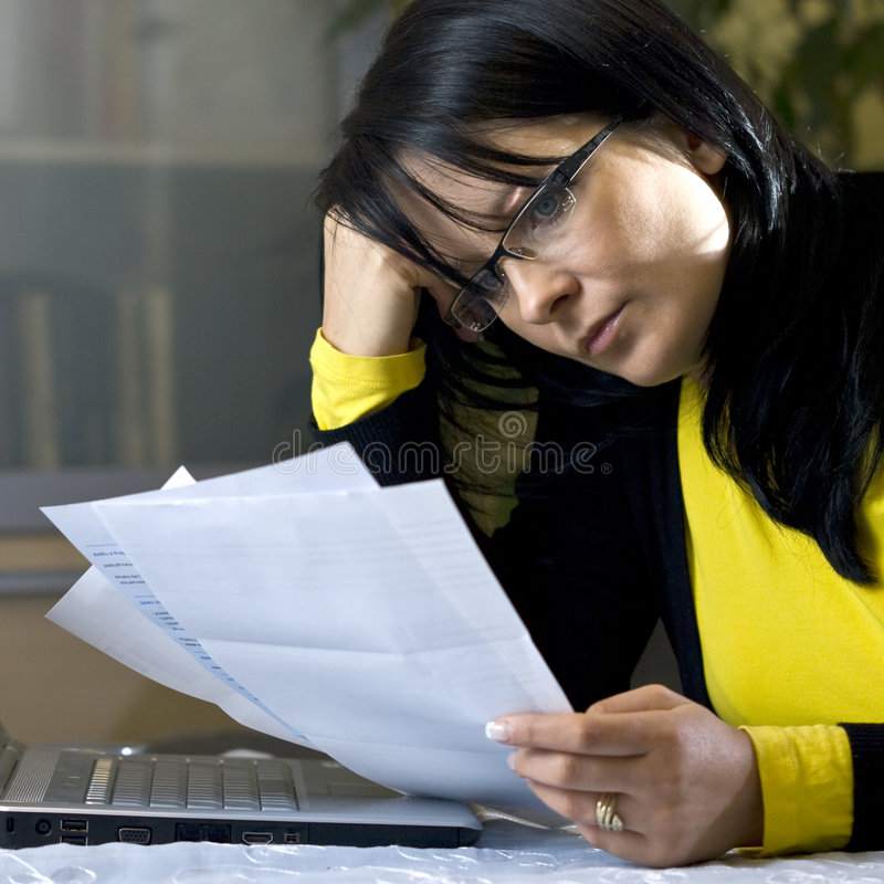 Download Paying bills online stock image. Image of documents, female - 7711825