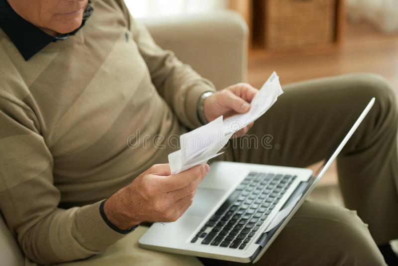 Paying bills online royalty free stock photos