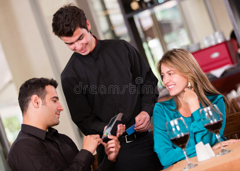 Paying by card at a restaurant