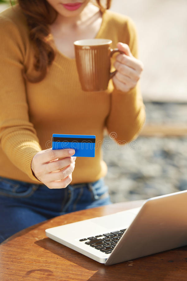 Paying with card royalty free stock image