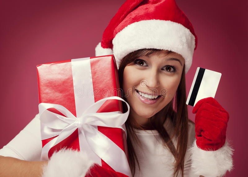 Paying for christmas gift royalty free stock photo