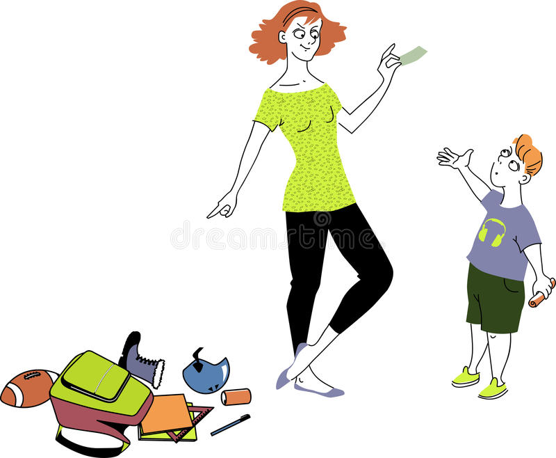 Paying for doing chores. Woman holding a money bill and pointing at a pile of boy things on the floor, urging her sun to do chores for money stock illustration