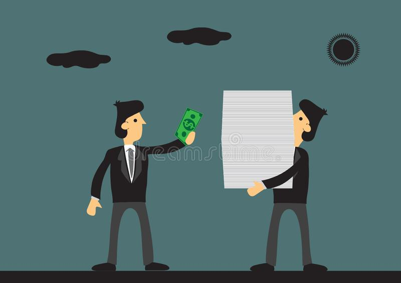 Paying Money to Work Done and Job Delegation Cartoon Vector Illustration. Cartoon businessman pays cash to worker carrying a huge stack of documents. Vector stock illustration