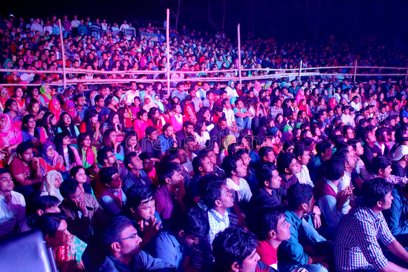 Open stage spectator in bangladesh royalty free stock images