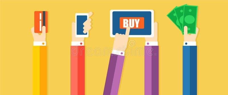 Paymen方法横幅 手支付物品,在现金帮助下,电话,卡片 库存例证