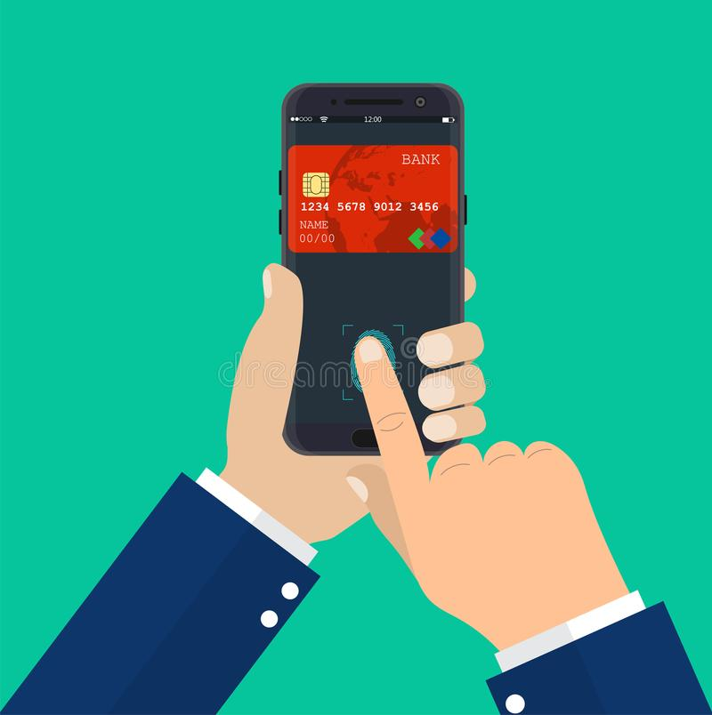 Payment app, bank card on smartphone screen. vector illustration
