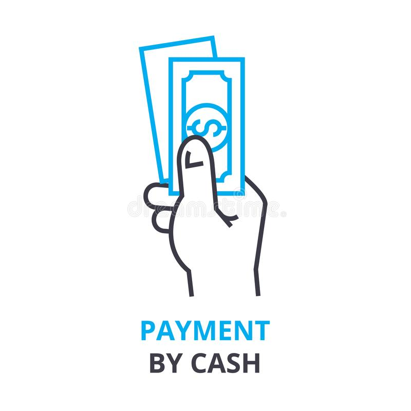 Payment by cash concept , outline icon, linear sign, thin line pictogram, logo, flat illustration, vector royalty free illustration