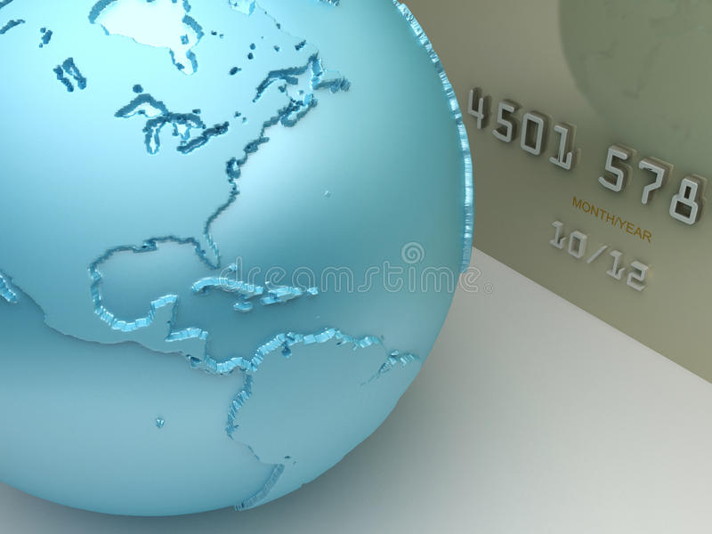 Payment concept. Credit card with a world map stock illustration