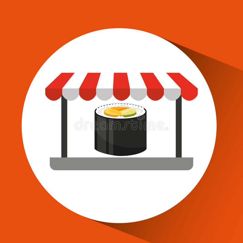 Payment credit card delivery food fresh sushi. Vector illustration eps 10 royalty free illustration