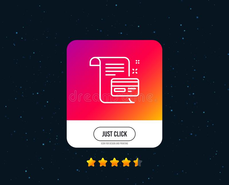 Payment credit card line icon. Money by mail sign. Vector. Payment credit card line icon. Money by mail sign. Agreement conditions symbol. Web or internet line stock illustration