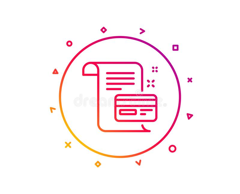 Payment credit card line icon. Money by mail sign. Vector. Payment credit card line icon. Money by mail sign. Agreement conditions symbol. Gradient pattern line vector illustration