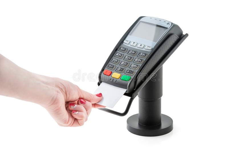 Payment by credit card through the POS terminal royalty free stock images