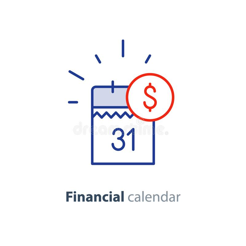Payment day, finance calendar icon, income dividend, long term investment royalty free illustration