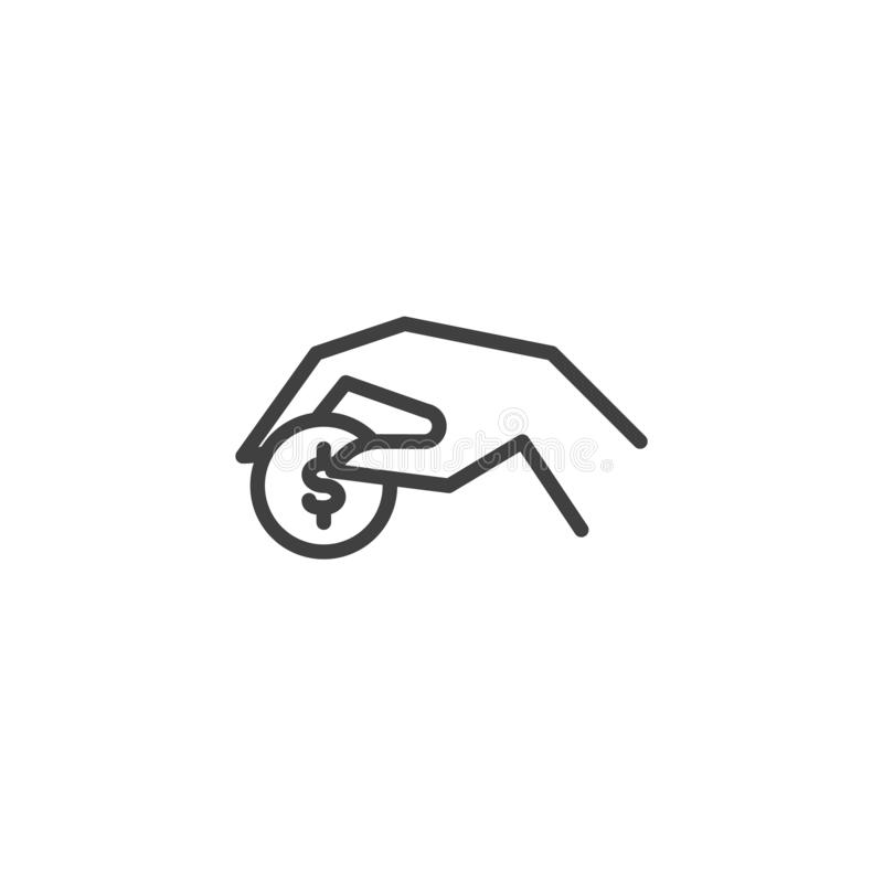 Payment with dollar coin line icon royalty free illustration
