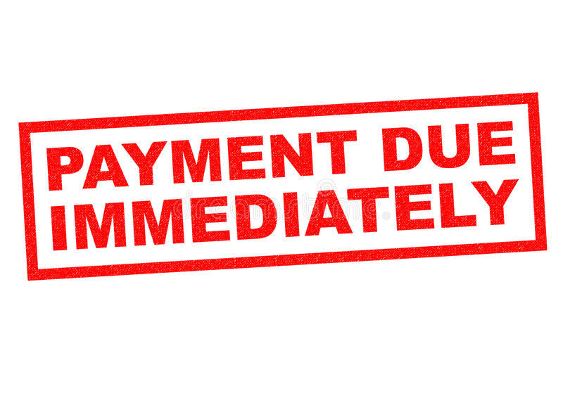 PAYMENT DUE IMMEDIATELY. Red Rubber Stamp over a white background royalty free illustration