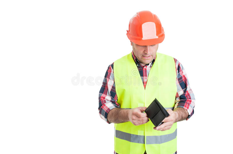 Payment and financial concept with male constructor stock photo