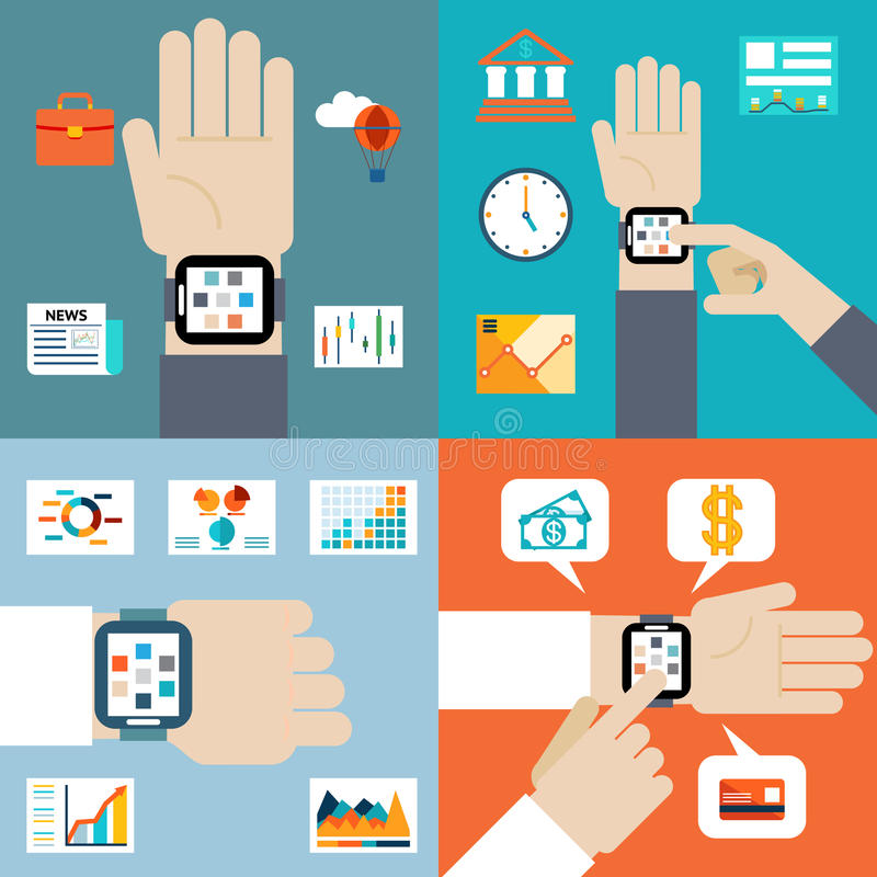 Payment and financial news via smart watch royalty free illustration