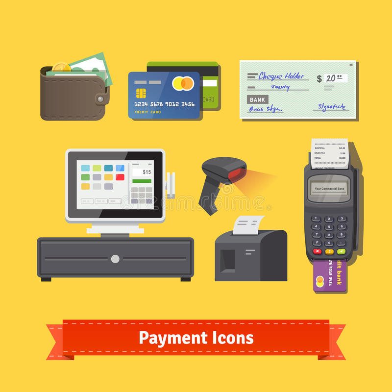 Free Payment Flat Icon Set. All For Business Payments Stock Image - 65620151